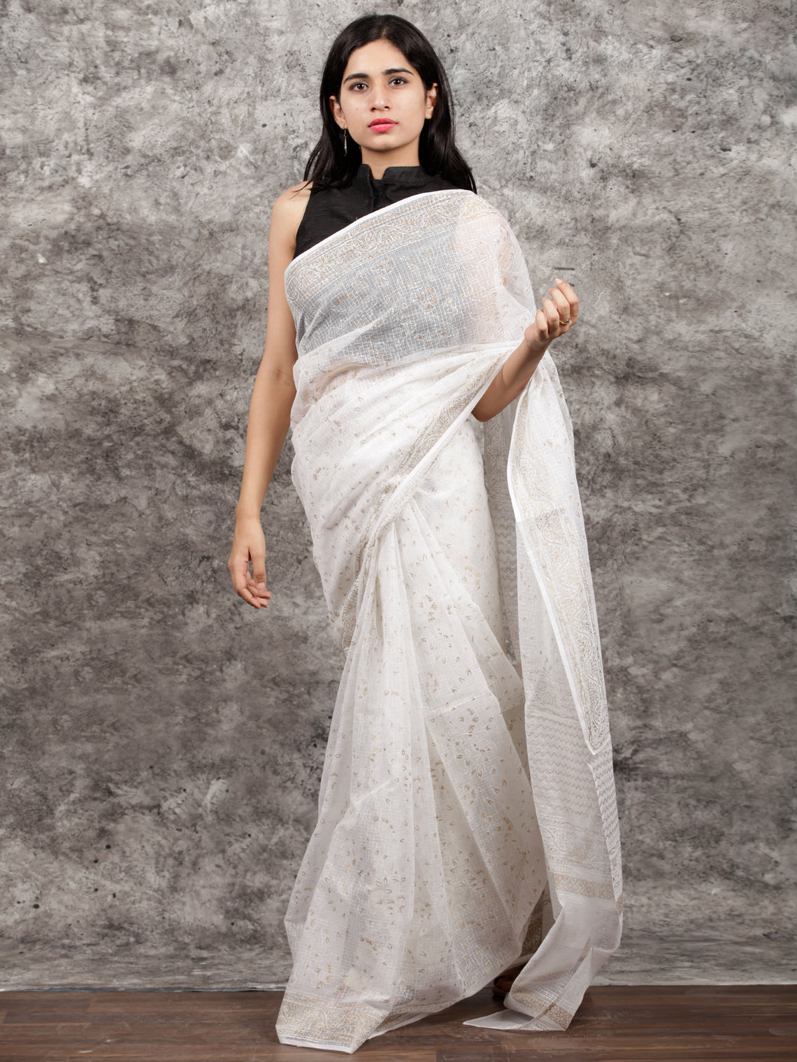 White Silver Hand Block Printed Kota Doria Saree in Natural Colors - S031703148