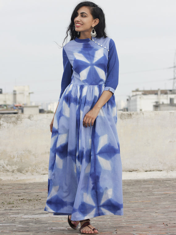 Naaz Saaj - Cobalt Blue Indigo White Tie Dye Full Length Dress With 3/4 Sleeves And Gathers   - DS29F001