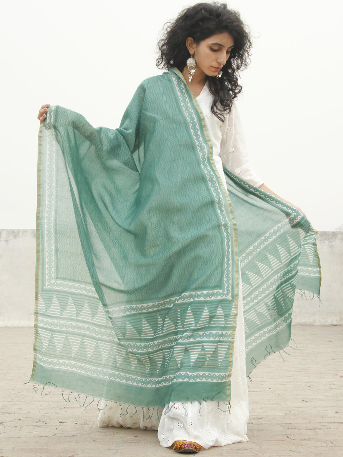 Teal green Ivory Chanderi Hand Black Printed & Hand Painted Dupatta - D04170227