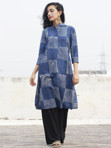 Indigo Ivory Hand Block Printed Kurti With Side Slit - K13F154