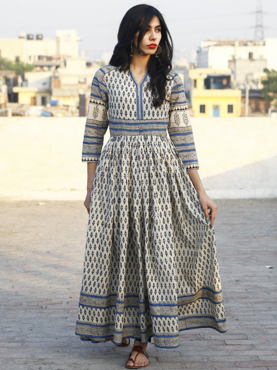 Ivory Blue Black Hand Block Printed Long Cotton Dress with Gathers & Stand Collar - DS03F001