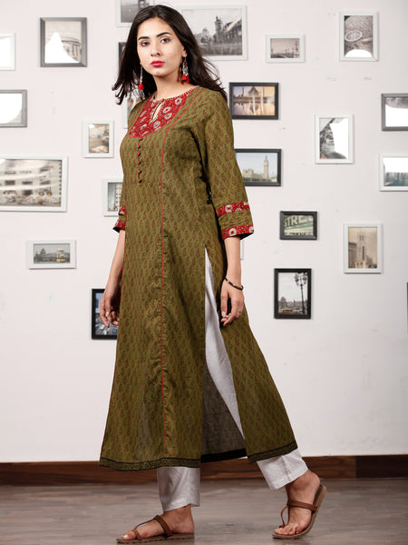 Olive Green Maroon Bagh Printed Kurta in Natural Colors - K126F1699