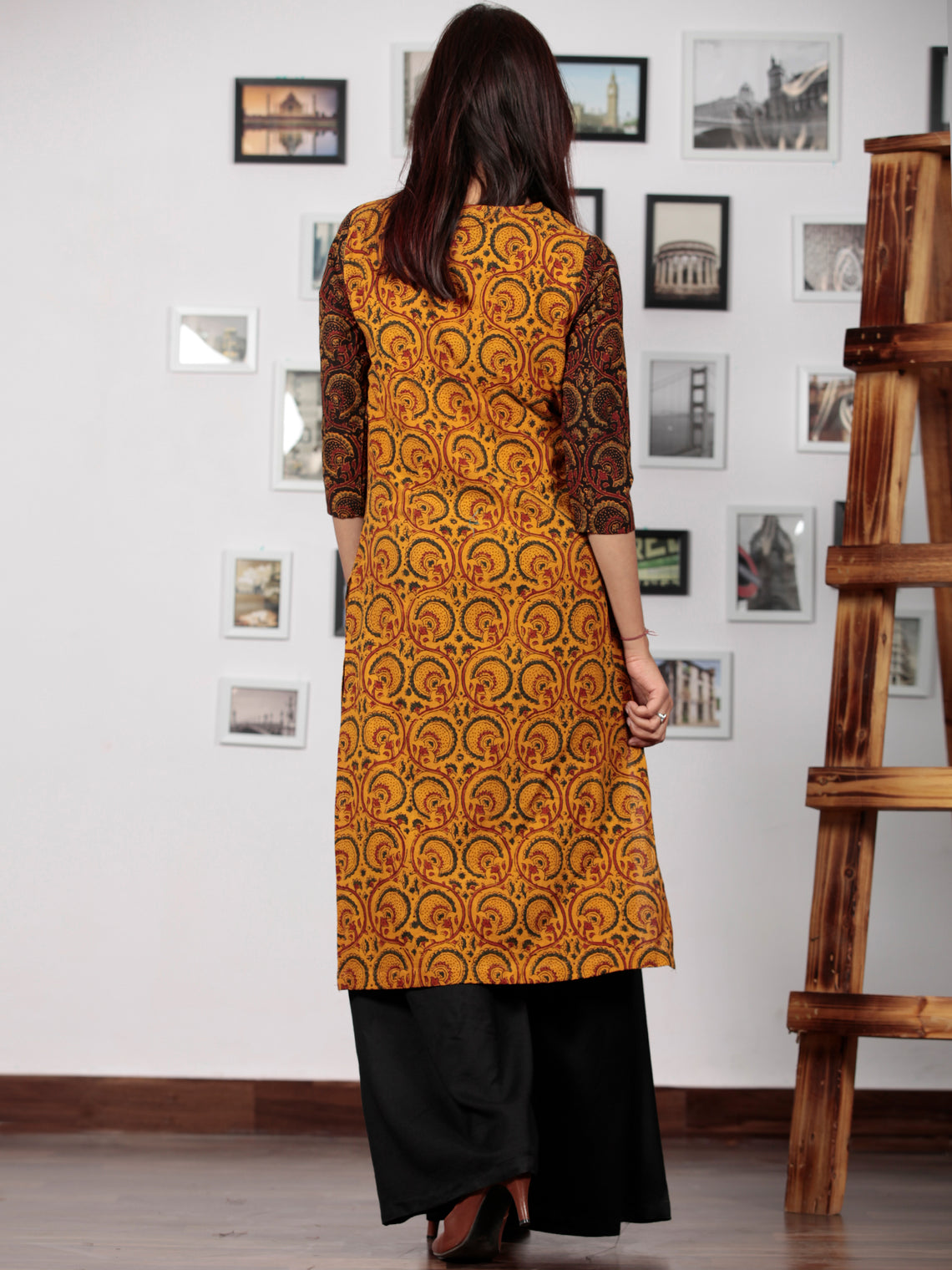 Yellow Red Green  Black Ajrakh Hand Block Printed Kurta - K63BP020