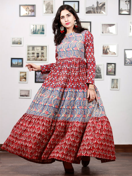 Indigo Red Beige Pink Hand Block Printed Long Cotton Tier Dress  -  D95F1379