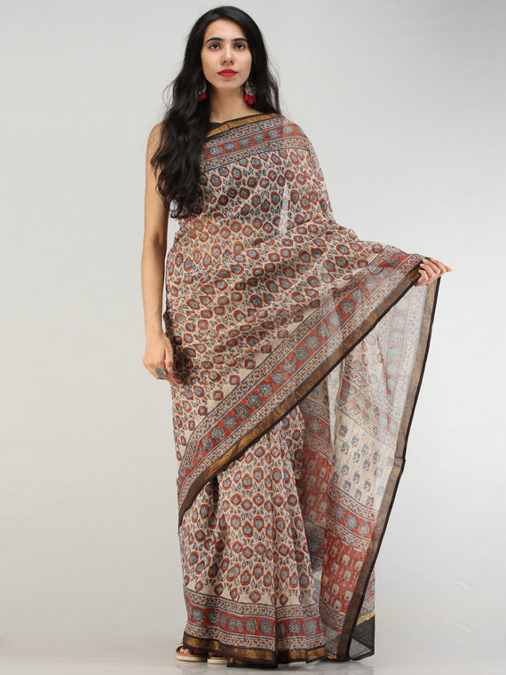 Beige Rust Indigo Hand Block Printed Kota Doria Saree In Natural Colors - S031704568