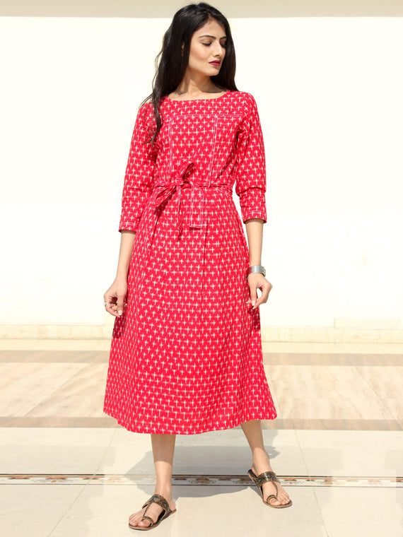 Naaz - Red White Double Ikat Cotton Midi Dress - D247F1948