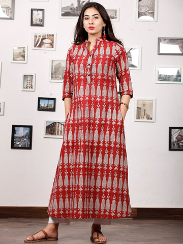 Brick Red Ivory Bagh Printed Kurta in Natural Colors - K127F1698