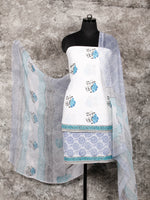 White Blue Black Hand Block Printed Cotton Suit-Salwar Fabric With Chiffon Dupatta (Set of 3) - SU01HB339