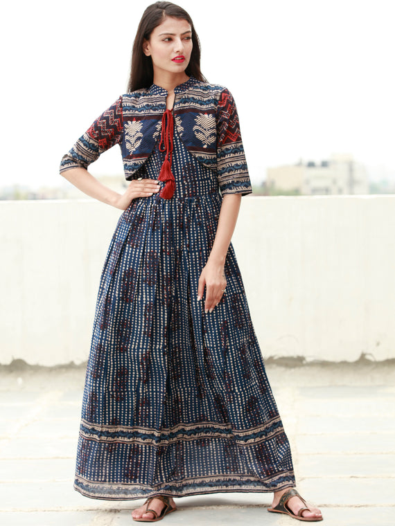 Indigo Rust Beige Black Hand Block Printed Long Cotton Dress with Gathers & Tassels - DS14F003
