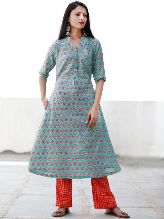Sky Blue Peach Hand Block Printed Cotton Kurta - K175F1931