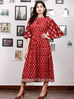 Maroon Beige Black Bagh Printed Cotton  Dress With Bell Sleeves - D301F1695