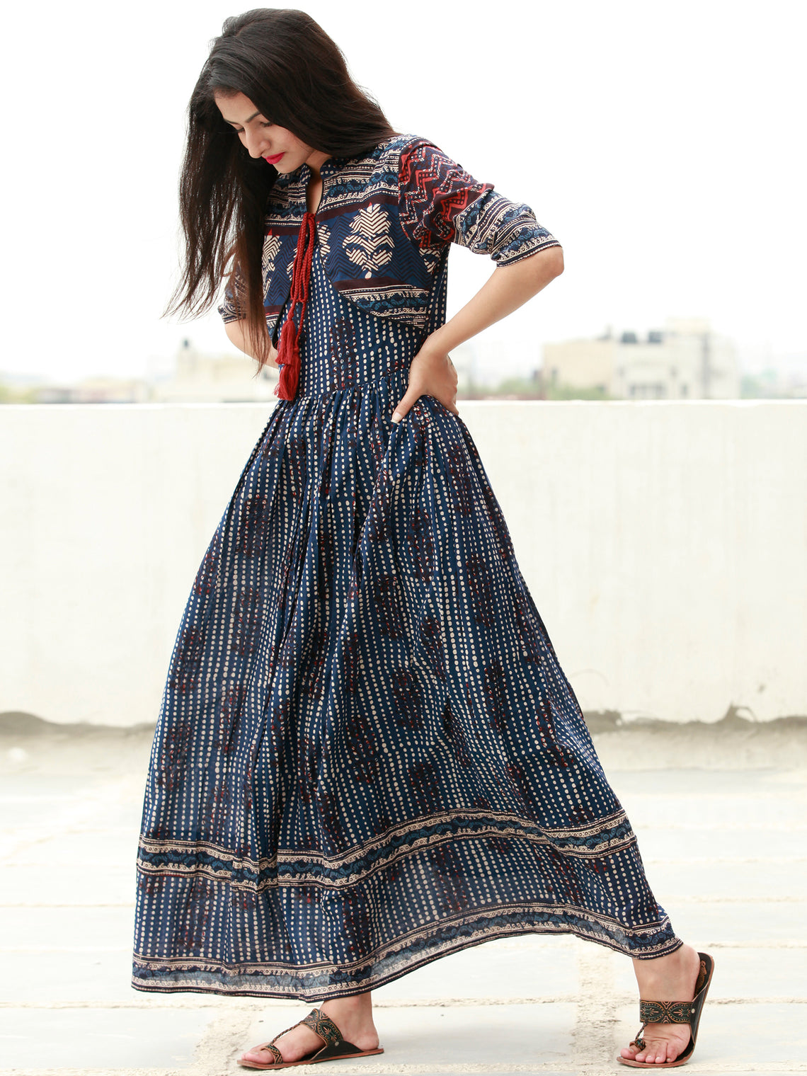 Naaz Indigo Rust Beige Hand Block Printed Long Cotton Dress with Tassels - DS14F003