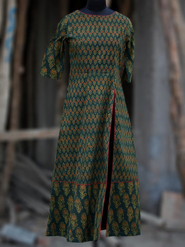 Green Rust Black Yellow Ajrakh Hand Printed Kurta With Front Slit - K60BP071