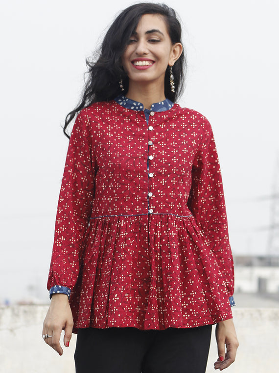 Red Beige Indigo Hand Block Printed Cotton Top - T12F067