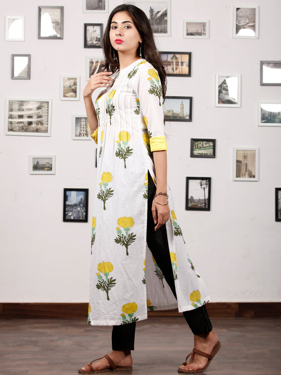 White Yellow Green Hand Block Printed Kurta - K128F1501