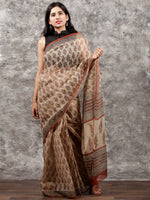 Beige Maroon Black Hand Block Printed Kota Doria Saree In Natural Colors - S031703151