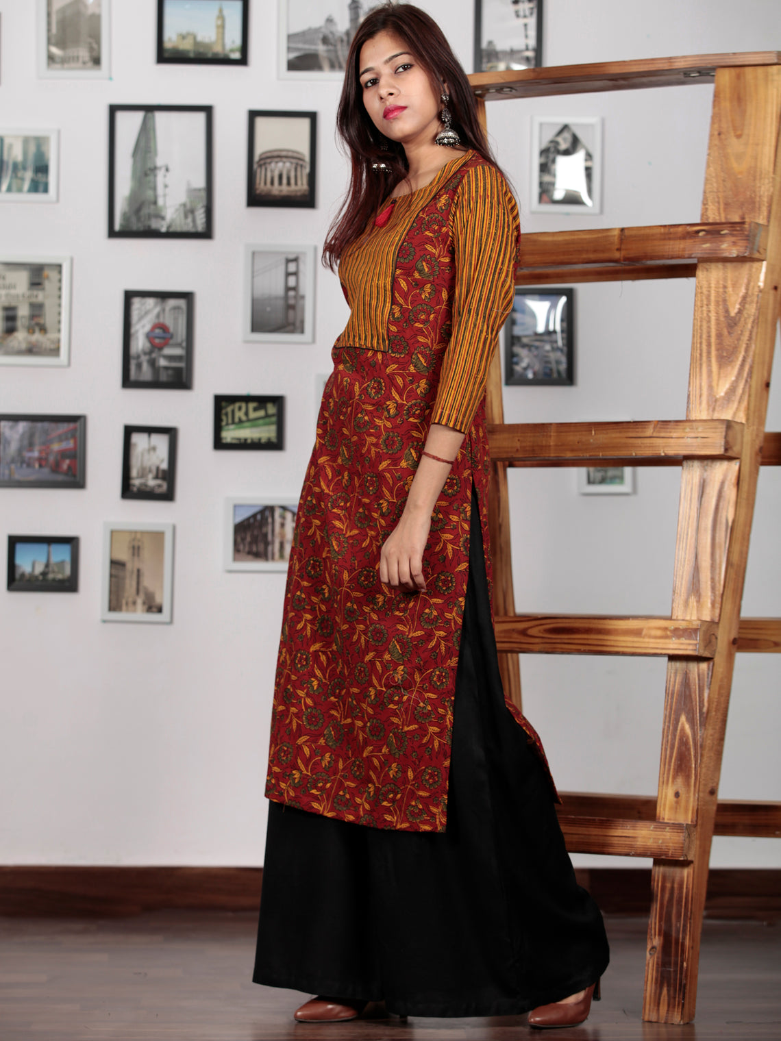 Rust Red Green Yellow Ajrakh Hand Block Printed Kurta  - K70BP0122