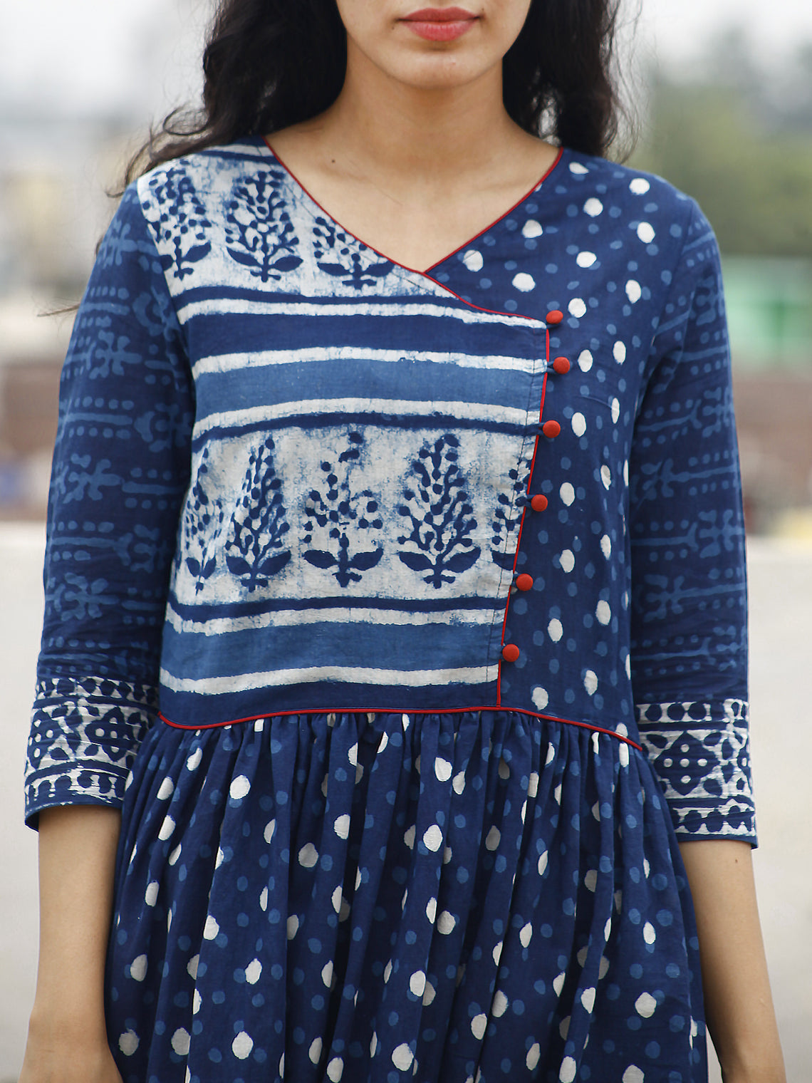 Naaz Indigo Ivory Hand Block Printed Angrakha Dress With Gathers -  DS15F001