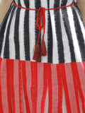 Black Red White Handloom Double Ikat Dress With Tassels & Side Pockets-  D112F763