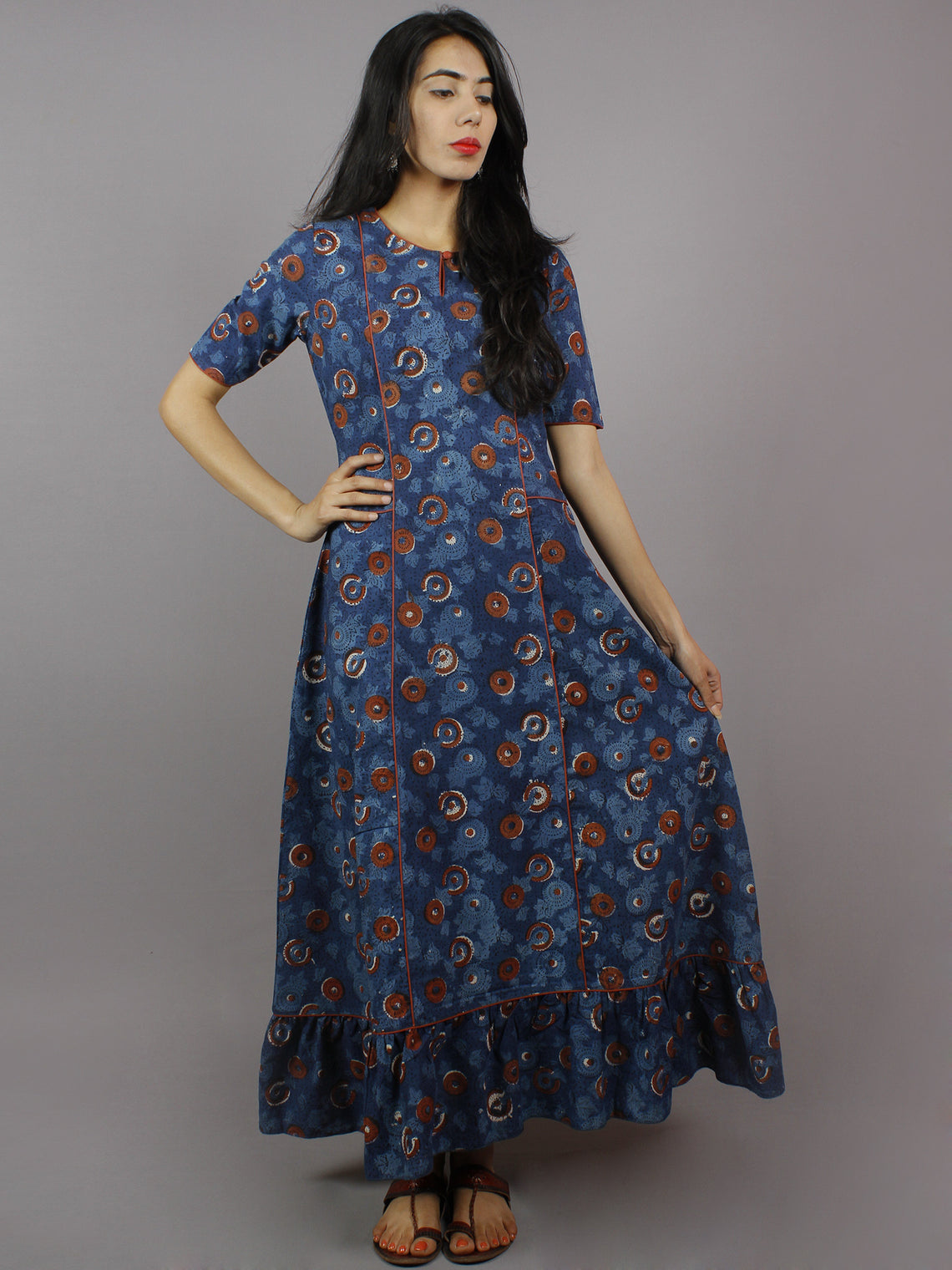 Indigo Brick Red Ivory Hand Block Printed Long Princess Line Cotton Dress - D2600102