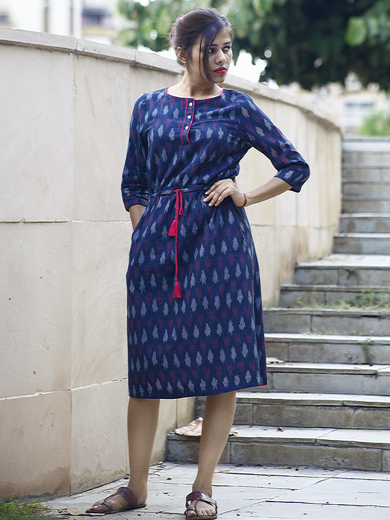 Indigo Magenta White Handwoven Ikat Dress With Tie-Up Waist and Side Pockets  -  D87F806
