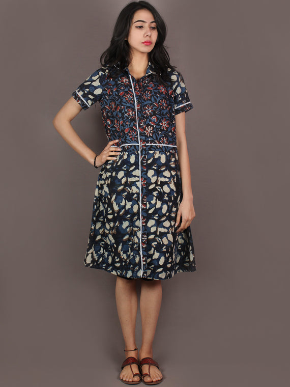 Indigo Black Ivory Red Hand Block Printed Knee Length Cotton Dress With Lace Insert - D0839901