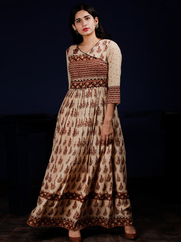 Beige Brown Black Hand Block Printed Long Cotton Dress With Gatheres & Full Lining - DS59F001