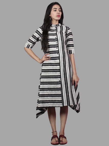Black Ivory Grey Handwoven Double Ikat Full Stripes Asymmetrical Dress  - D5176001