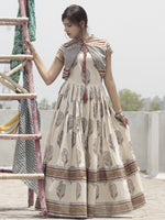 Naaz Ivory Maroon Rust Black Hand Block Printed Long Cotton Dress with Gathers & Tassels - DS14F001