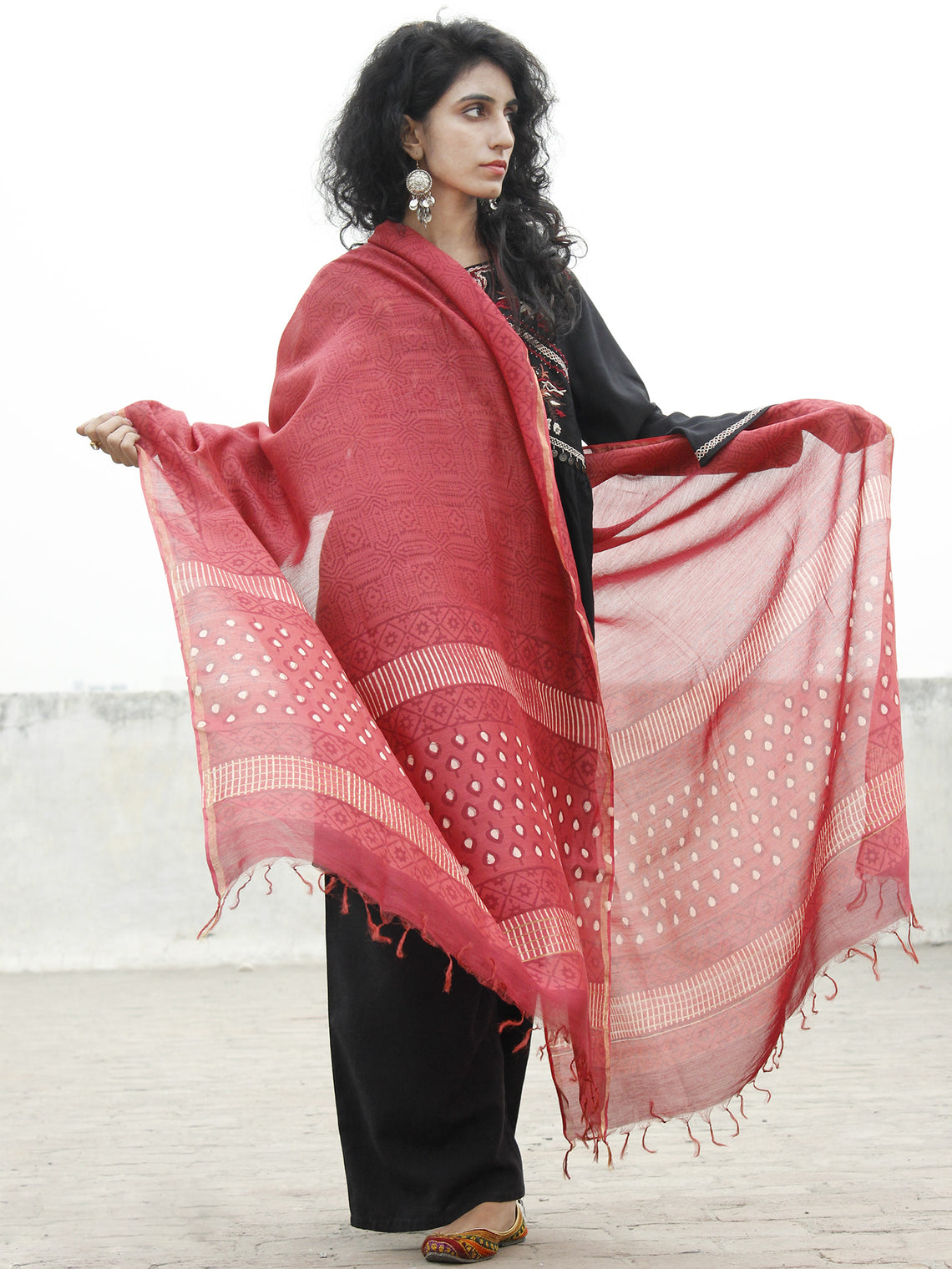 Red Ivory Chanderi Hand Black Printed & Hand Painted Dupatta - D04170211