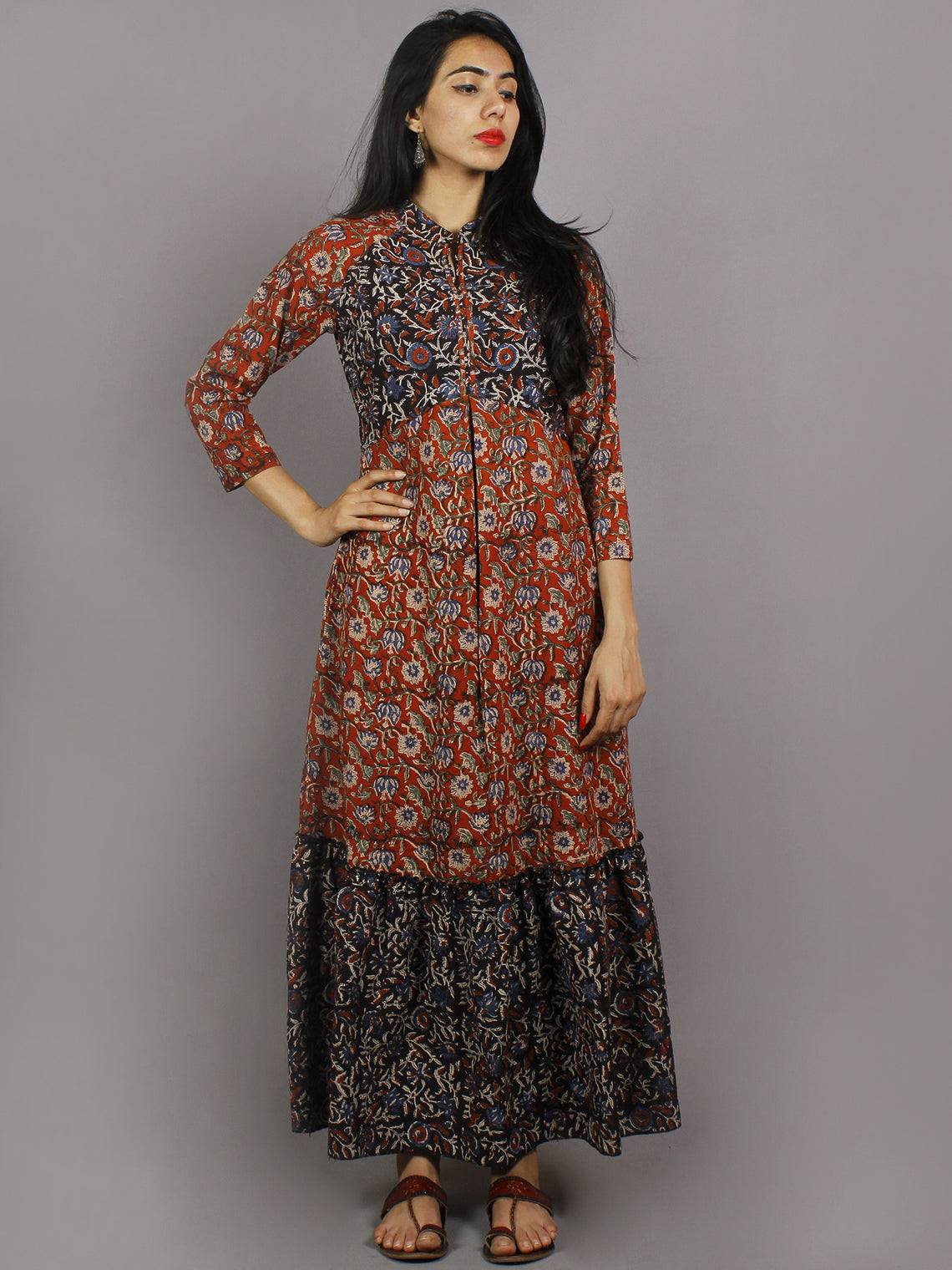Red Black Beige Blue Green Hand Block Printed Long Cotton Dress With Mandarin Collar- D3457901