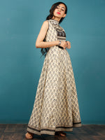 Naaz Beige Black Grey Hand Block Printed Long Cotton Sleeveless Dress With Back Tassel Belt -  DS50F001