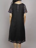 Black Maroon Blue Beige Hand Block Printed Cotton & Rayon Dress With Front Pockets - D4461501