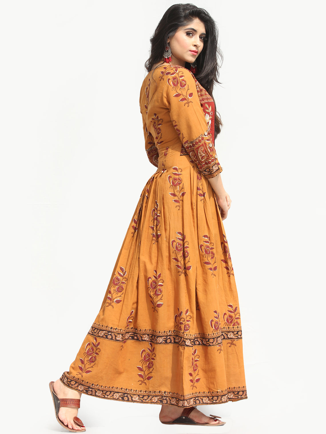 Naaz Roheen - Hand Block Printed Long Cotton Box Pleated Embroidered Jacket Dress - DS98F004