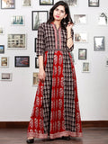 Red White Black Bagh Printed Panel Cotton Long Dress With Stand Collar  - D294F1710