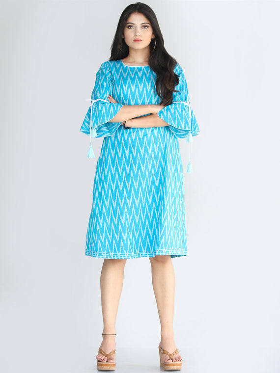 Rida - Handwoven Ikat Tunic Dress With Tassels - D412F672