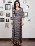 Indigo Brown Red Beige Hand Block Printed Long Cotton Dress With Back Knots & Kalamkari Border - D162F1485