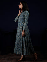 Indigo White Black Hand Block Printed Long Cotton Shirt Collar Dress - D248F1337