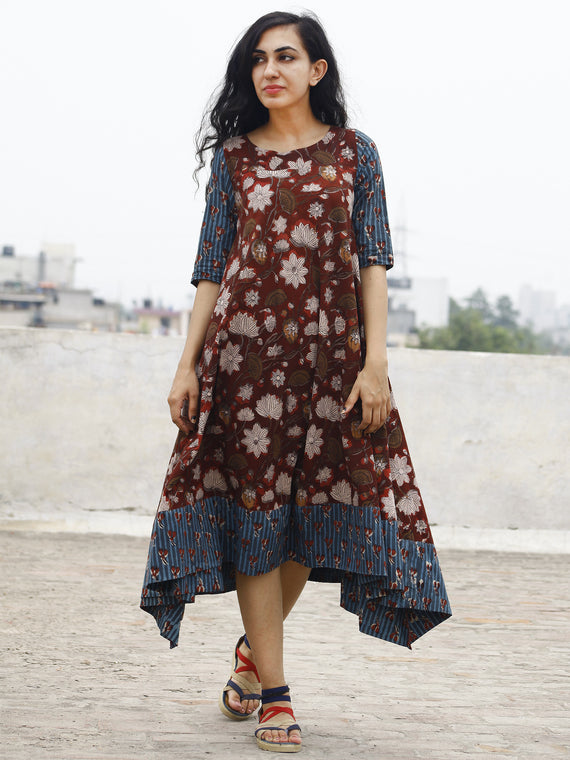 Brick Red Indigo Beige Hand Block Printed Cotton Asymmetric Dress.  D84F611