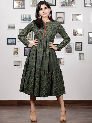 Hunter Green Mustard Black Hand Printed Ajrakh Cotton Tier Dress - D303F1515