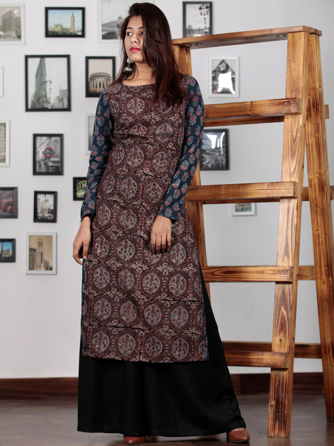 Black Maroon Indigo Ajrakh Hand Block Printed Kurta in Natural Colors - K73BP0137