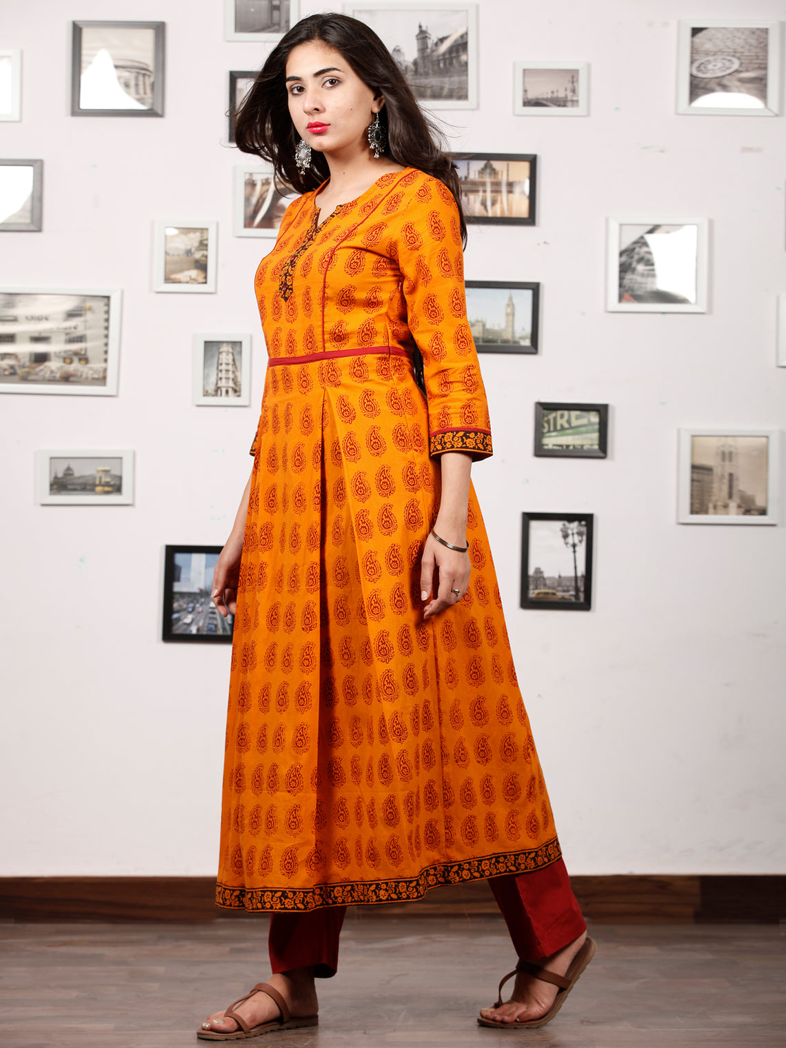 Orange Maroon Black Bagh Printed Kurta in Natural Colors - K131F1722