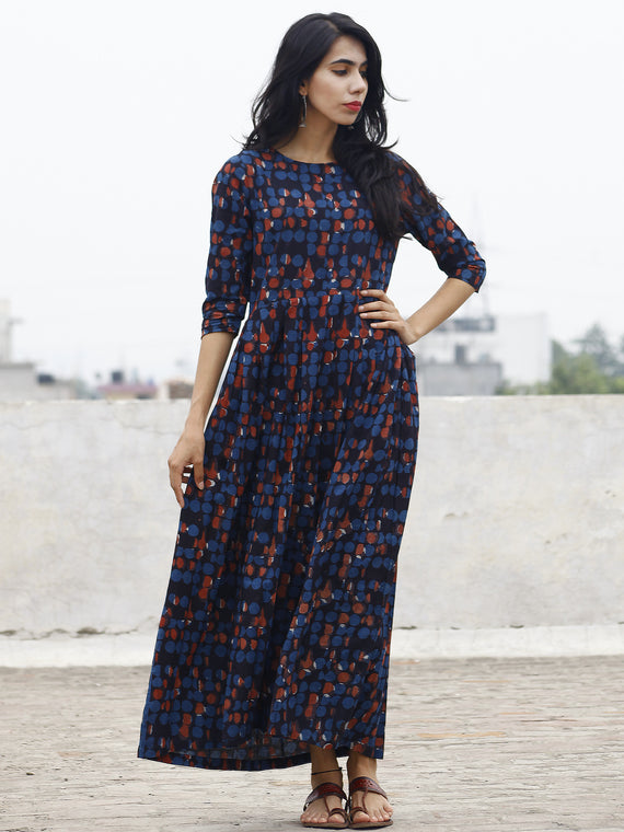 Indigo Rust White Long Hand Block Printed Cotton Dress With Knife Pleats & Side Pockets  -  D85F590