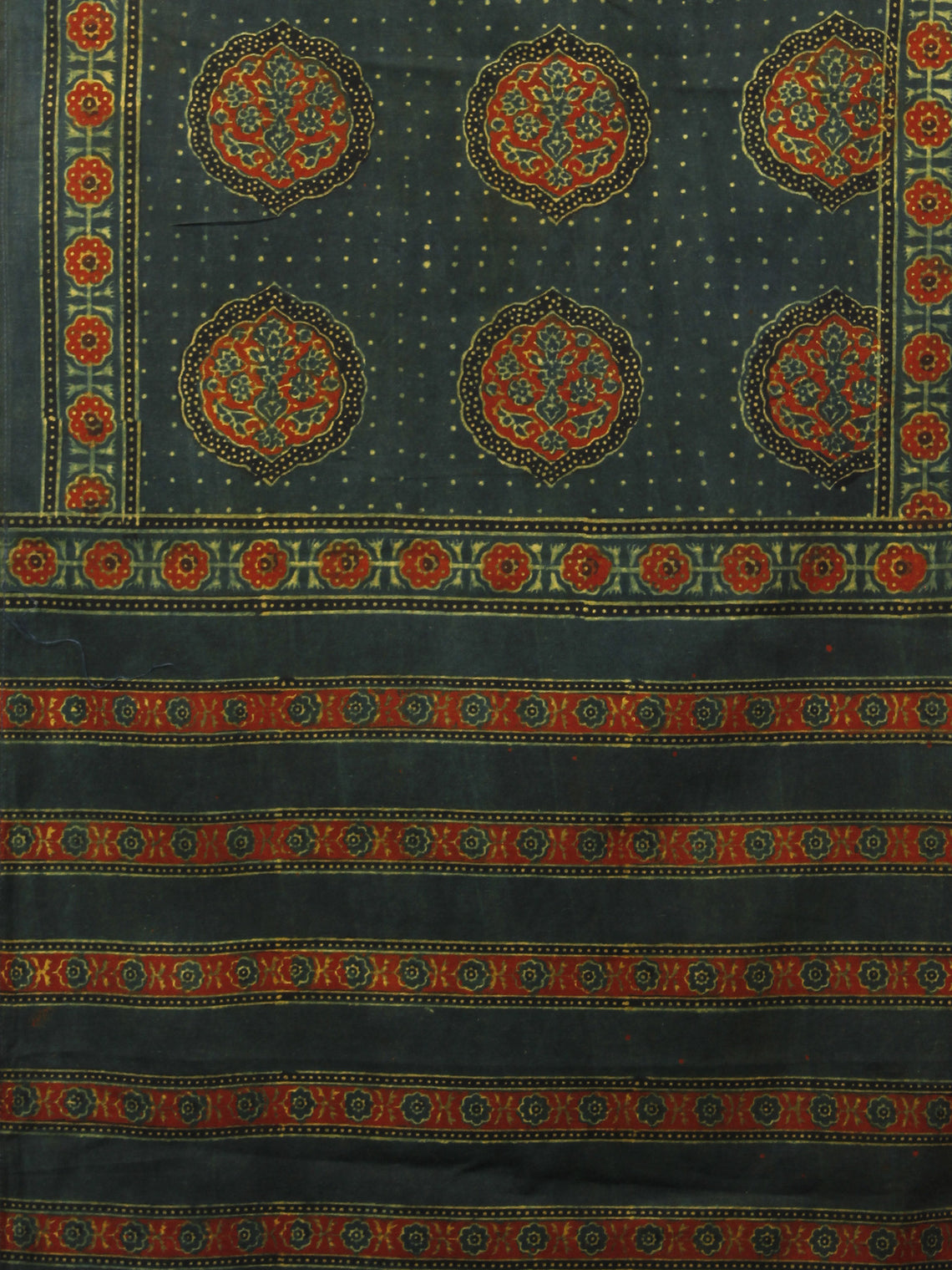 Dark Green Maroon Black Mughal Nakashi Ajrakh Hand Block Printed Cotton Stole - S63170129