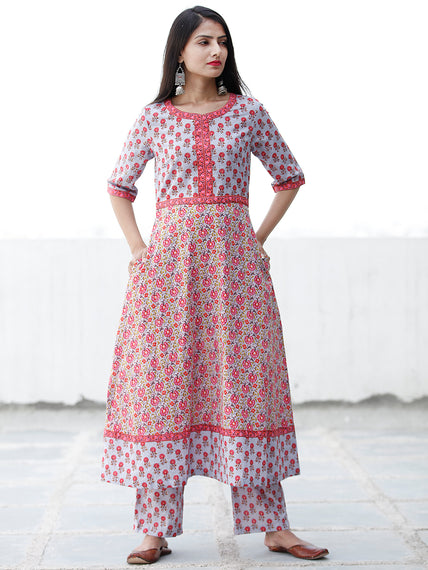 Pastel Flowers - Block Printed Kurta & Pants - Set of 2 - SS01F1860