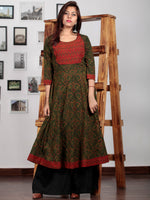 Green Red Yellow Black Ajrakh Hand Block Printed Kurta - K62BP019