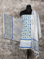 White Blue Green Hand Block Printed Cotton Suit-Salwar Fabric With Chiffon Dupatta (Set of 3) - SU01HB346