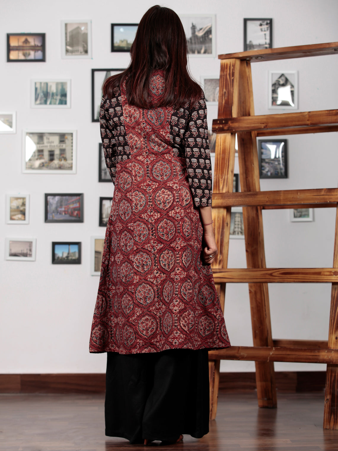 Red Indigo  Black Ajrakh Hand Block Printed Kurta in Natural Colors - K62BP0140