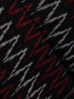 Red Black White Ikat Handwoven Cotton Suit Fabric Set of 3 - S1002024