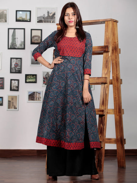 Indigo Red Black Beige Ajrakh Hand Block Printed Kurta in Natural Colors - K71BP018